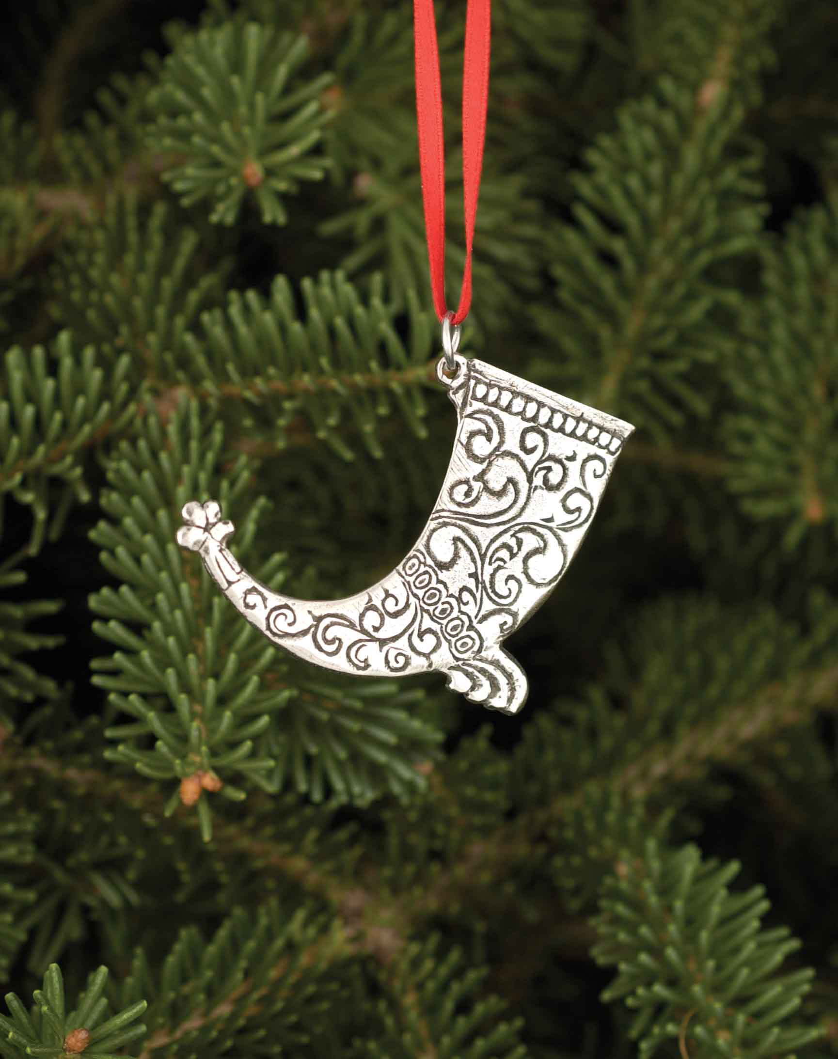 Norwegian Pewter Ornament - Drinking Horn | Stabo Imports